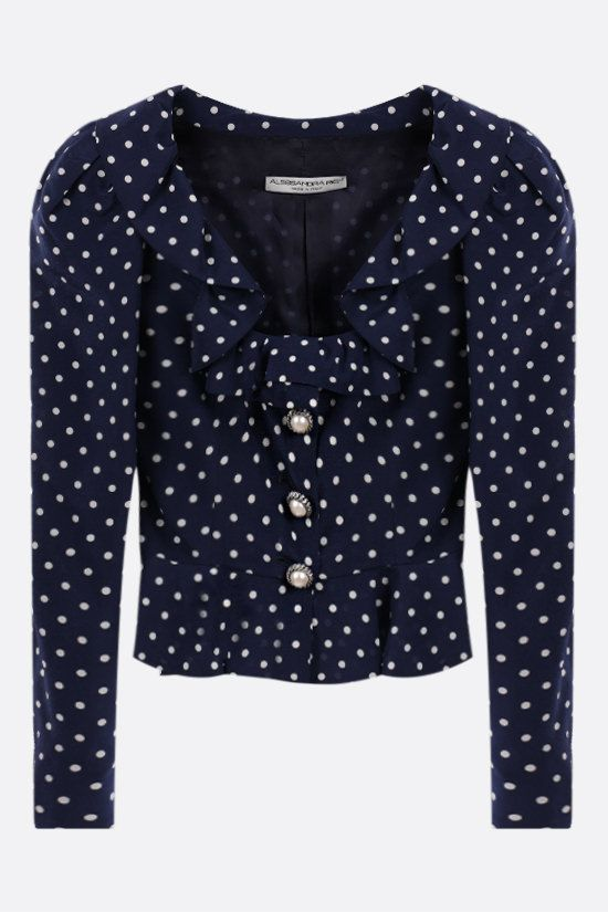 ALESSANDRA RICH: polka dot silk top Color Blue_1
