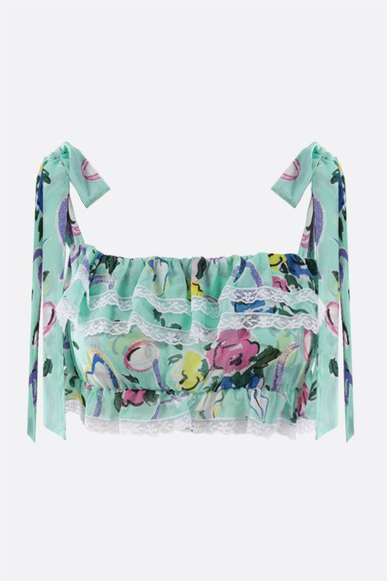 ALESSANDRA RICH: Floral Ribbon print crepe de chine cropped top Color Green_1