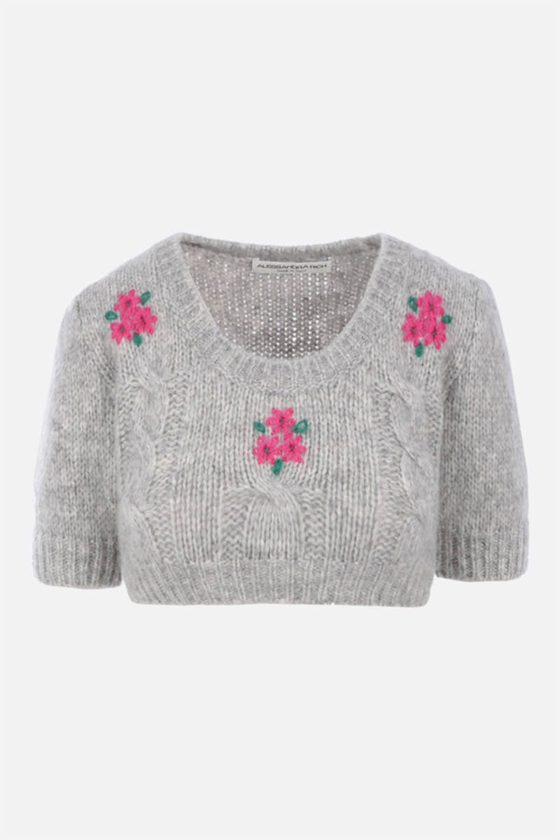 ALESSANDRA RICH: cropped knit top Color Grey_1