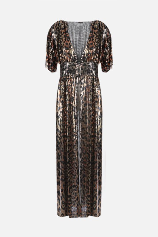 PACO RABANNE: leopard print metal mesh robe dress Color Animalier_1