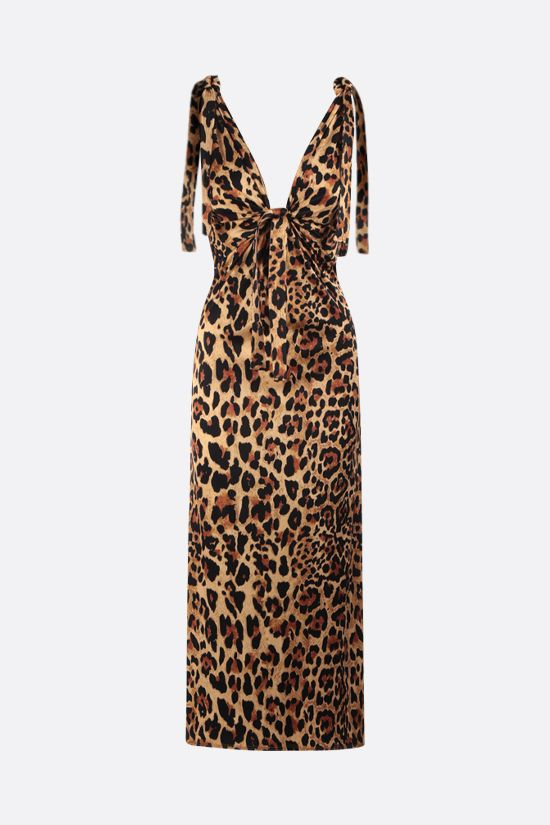 PACO RABANNE: leopard print jersey long dress Color Animalier_1
