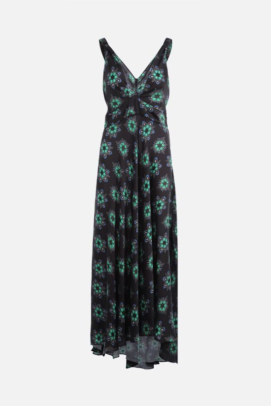PACO RABANNE: floral print satin long dress Color Black_1