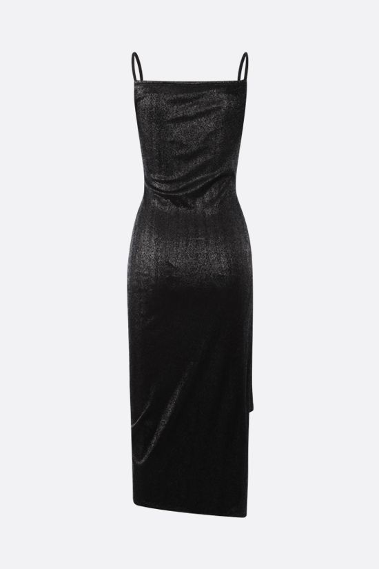 PACO RABANNE: lurex jersey draped dress Color Black_2