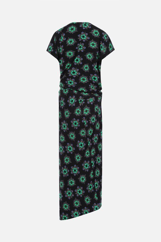 PACO RABANNE: floral print stretch jersey midi dress Color Black_2