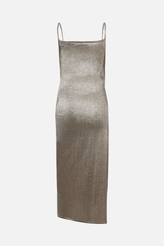 PACO RABANNE: lurex jersey draped dress Color Silver_2