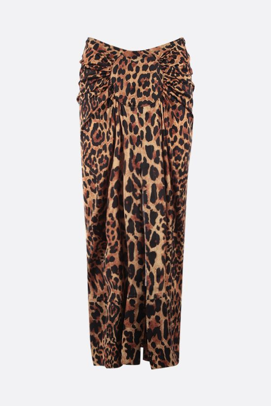 PACO RABANNE: leopard print satin long skirt Color Animalier_1