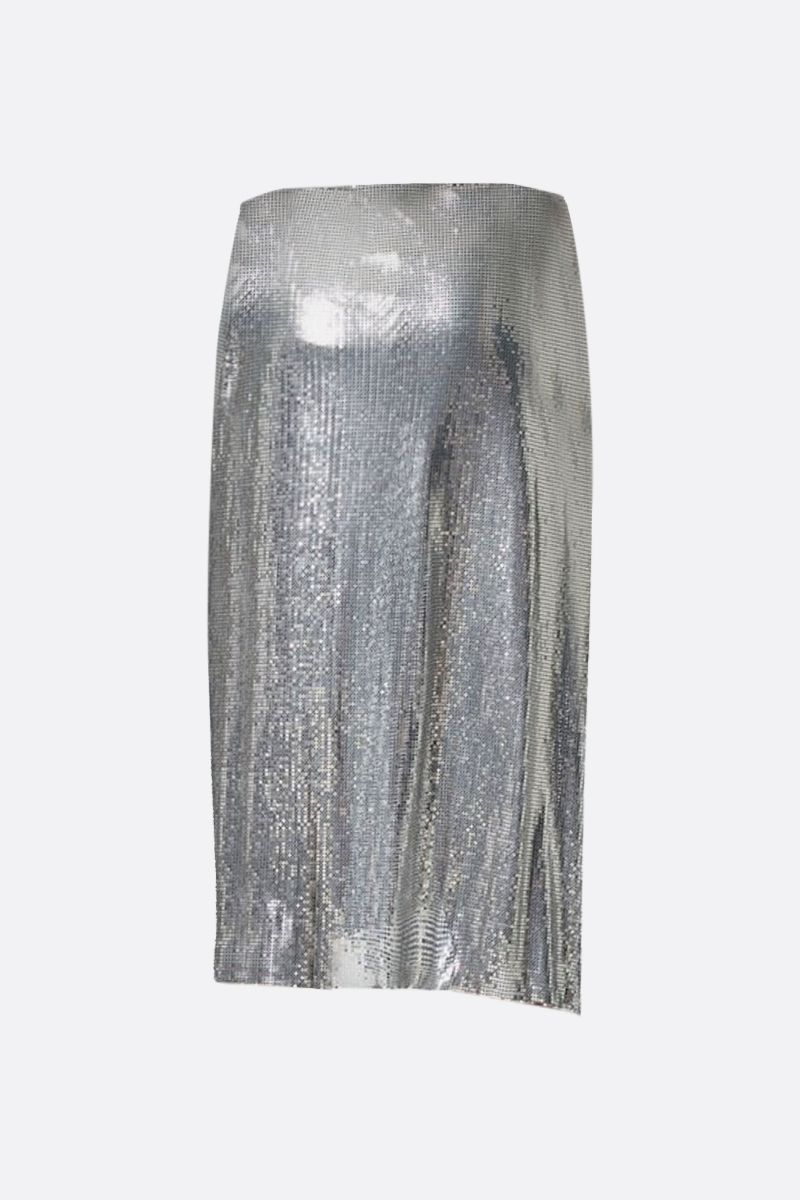 PACO RABANNE: metal mesh draped skirt Color Silver_2
