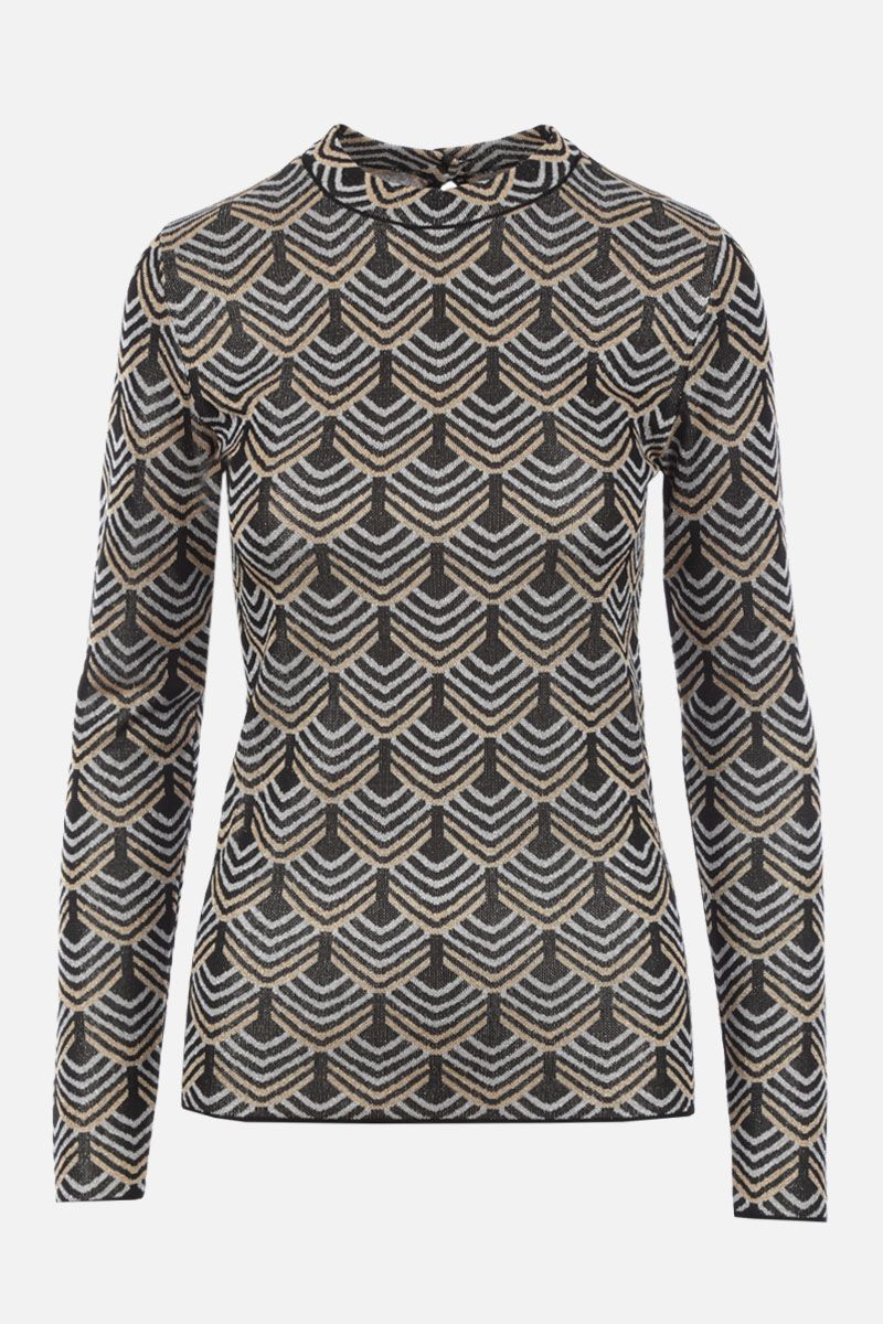 PACO RABANNE: geometric motif stretch knit top_1
