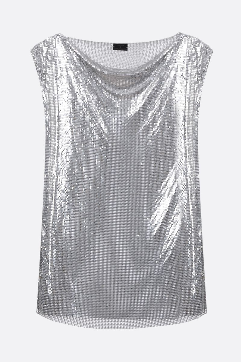 PACO RABANNE: metal mesh sleeveless top Color Silver_1