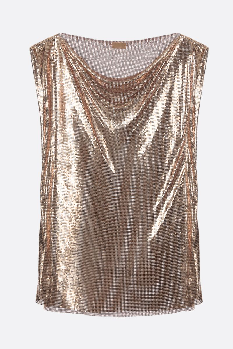 PACO RABANNE: metal mesh sleeveless top Color Gold_1