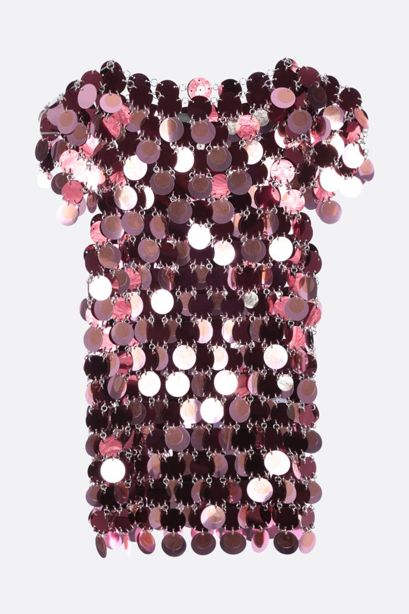 PACO RABANNE: short-sleeved top in mirror-effect discs Color Red_1