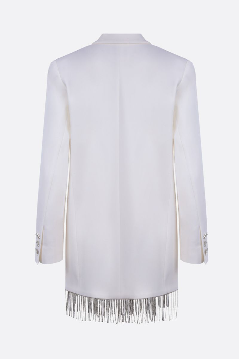 GIUSEPPE DI MORABITO: fringe-detailed wool blend jacket-dress Color White_2