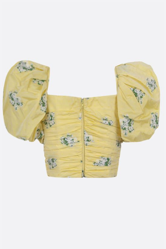GIUSEPPE DI MORABITO: floral-motif taffetà cropped top Color Yellow_2