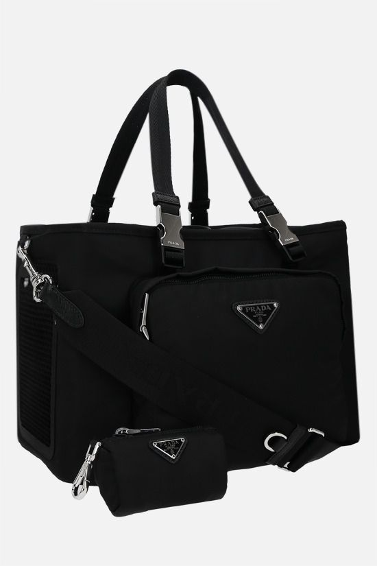 PRADA: Re-Nylon and mesh pet bag Color Black_2