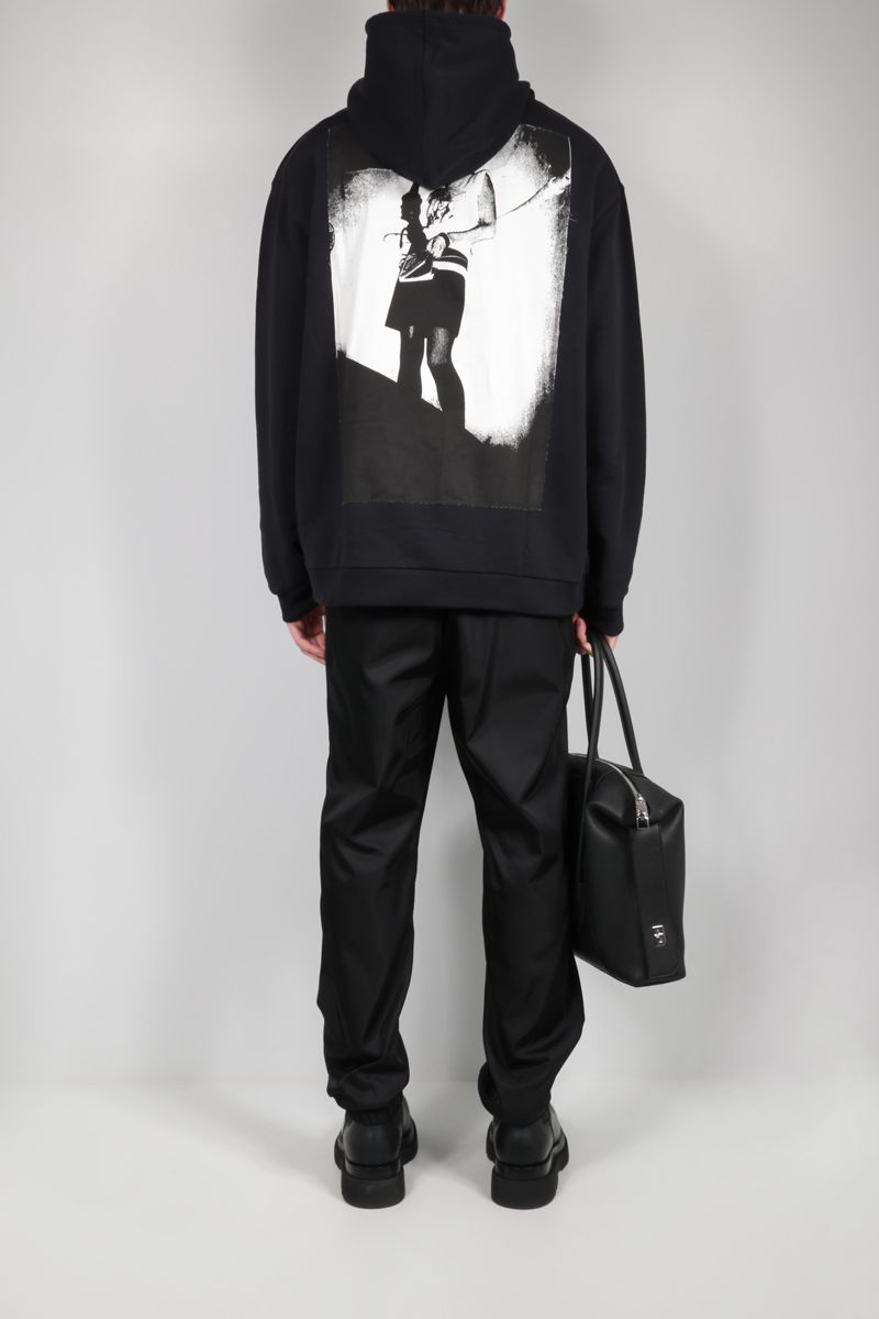 FRED PERRY X RAF SIMONS: patch-detailed oversize cotton hoodie Color Black_2