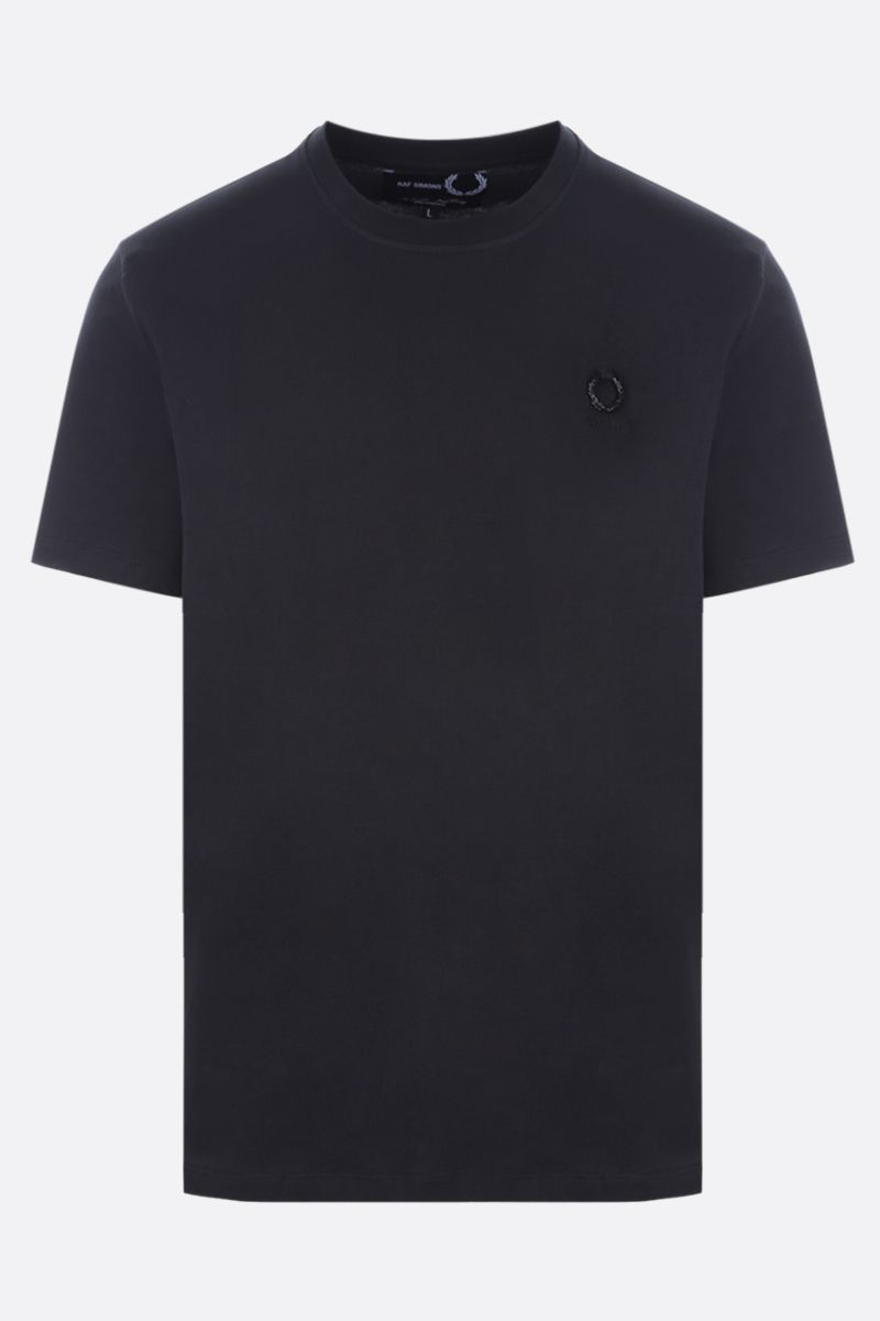 FRED PERRY X RAF SIMONS: logo-detailed cotton t-shirt Color Black_1
