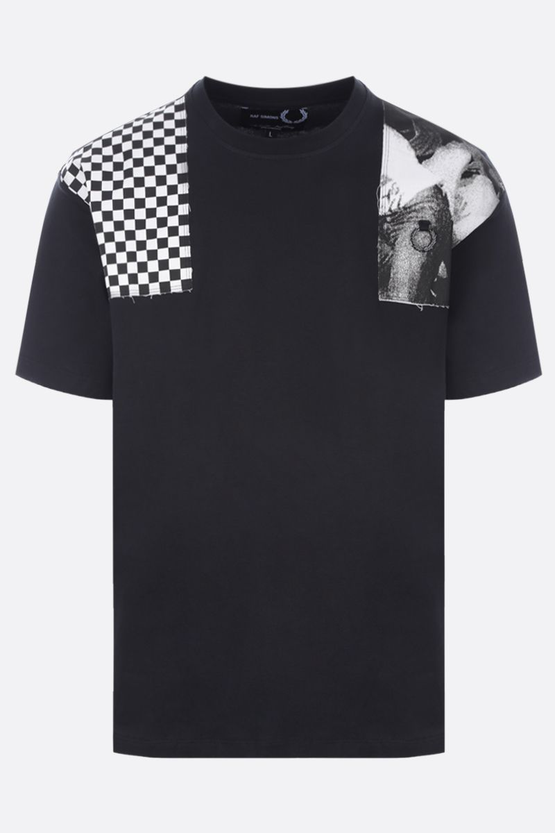 FRED PERRY X RAF SIMONS: patch-detailed oversize cotton t-shirt Color Black_1
