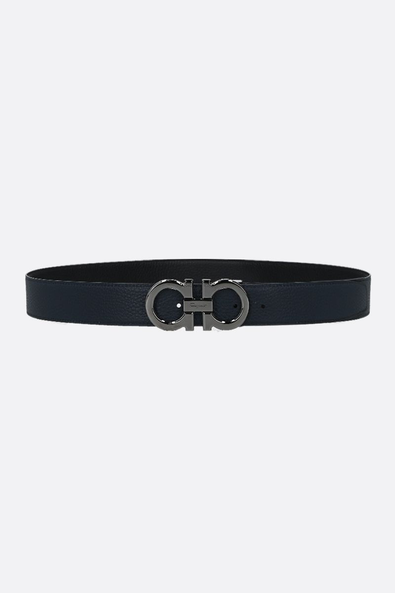 SALVATORE FERRAGAMO: Gancini grainy leather reversible belt Color Black_2