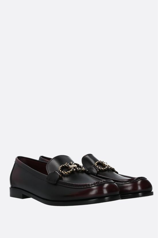 SALVATORE FERRAGAMO: Rolo shiny leather loafers Color Grey_2