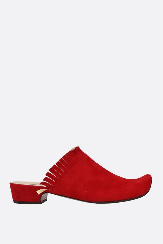 FERRAGAMO'S CREATIONS: Baghdad suede mules Color Red_1