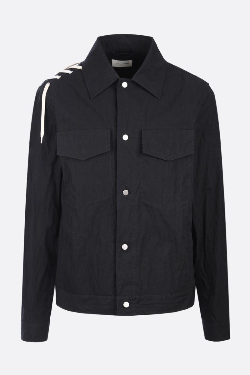 CRAIG GREEN: lace-detailed technical cotton overshirt Color Black_1