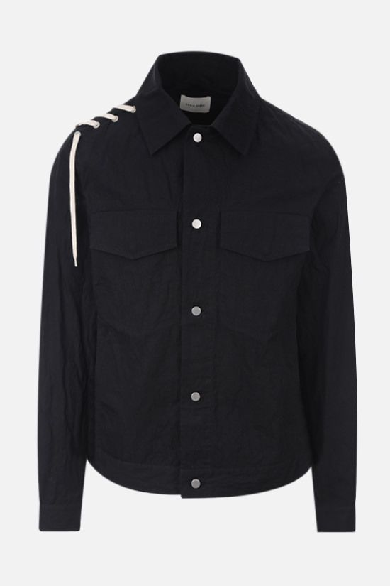 CRAIG GREEN: lace-embellished technical cotton overshirt Color Black_1