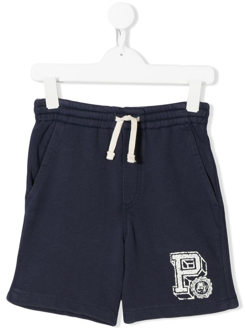 RALPH LAUREN KIDS: P print cotton shorts Color Blue_1