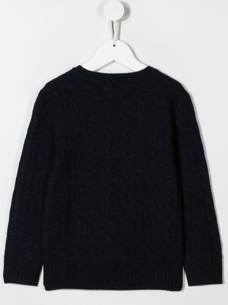 RALPH LAUREN KIDS: Pony embroidered wool cahsmere blend pullover Color Blue_2