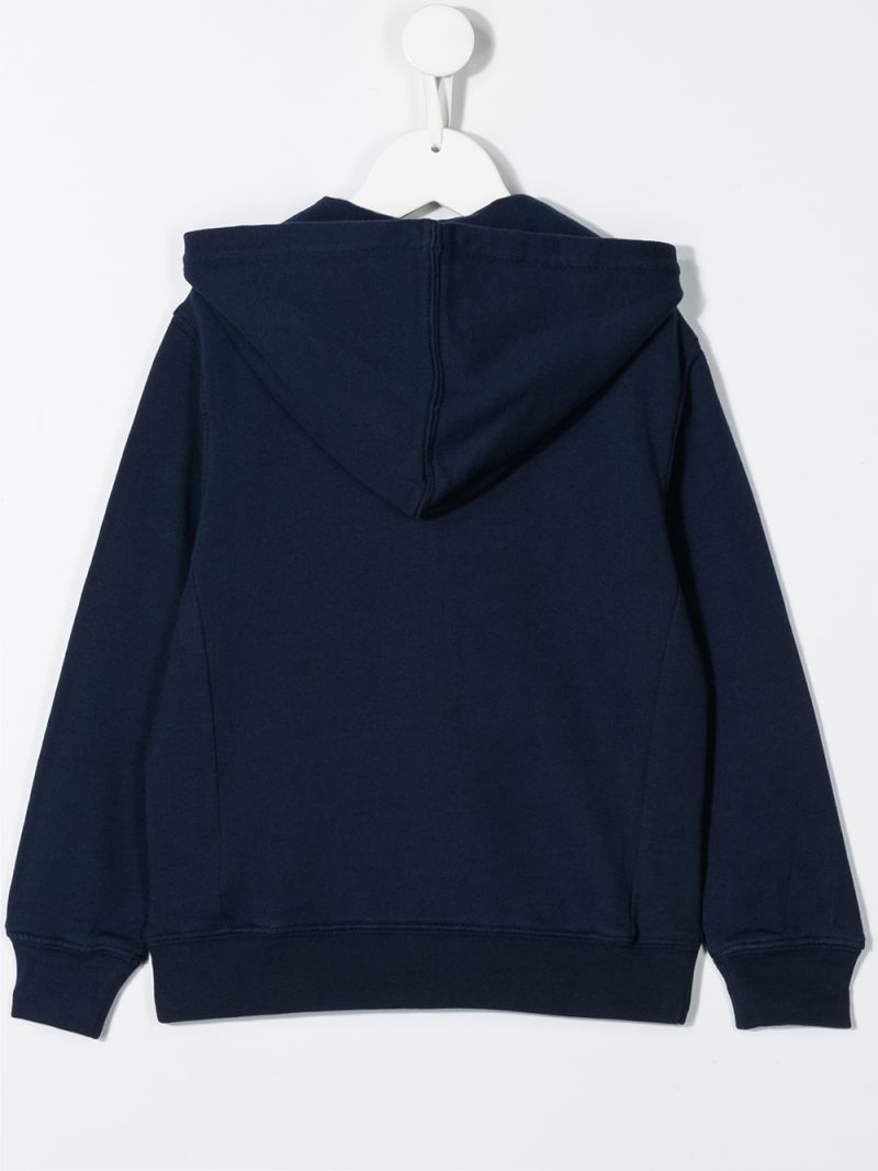 RALPH LAUREN KIDS: Big Pony embroidered cotton full-zip hoodie Color Blue_2
