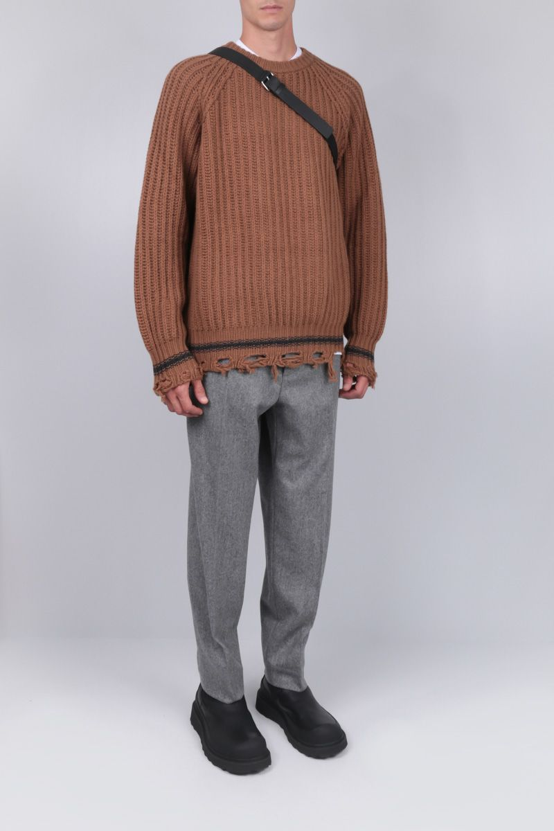 GOLDEN GOOSE DELUXE BRAND: Kunio distressed-effect wool pullover Color Brown_2