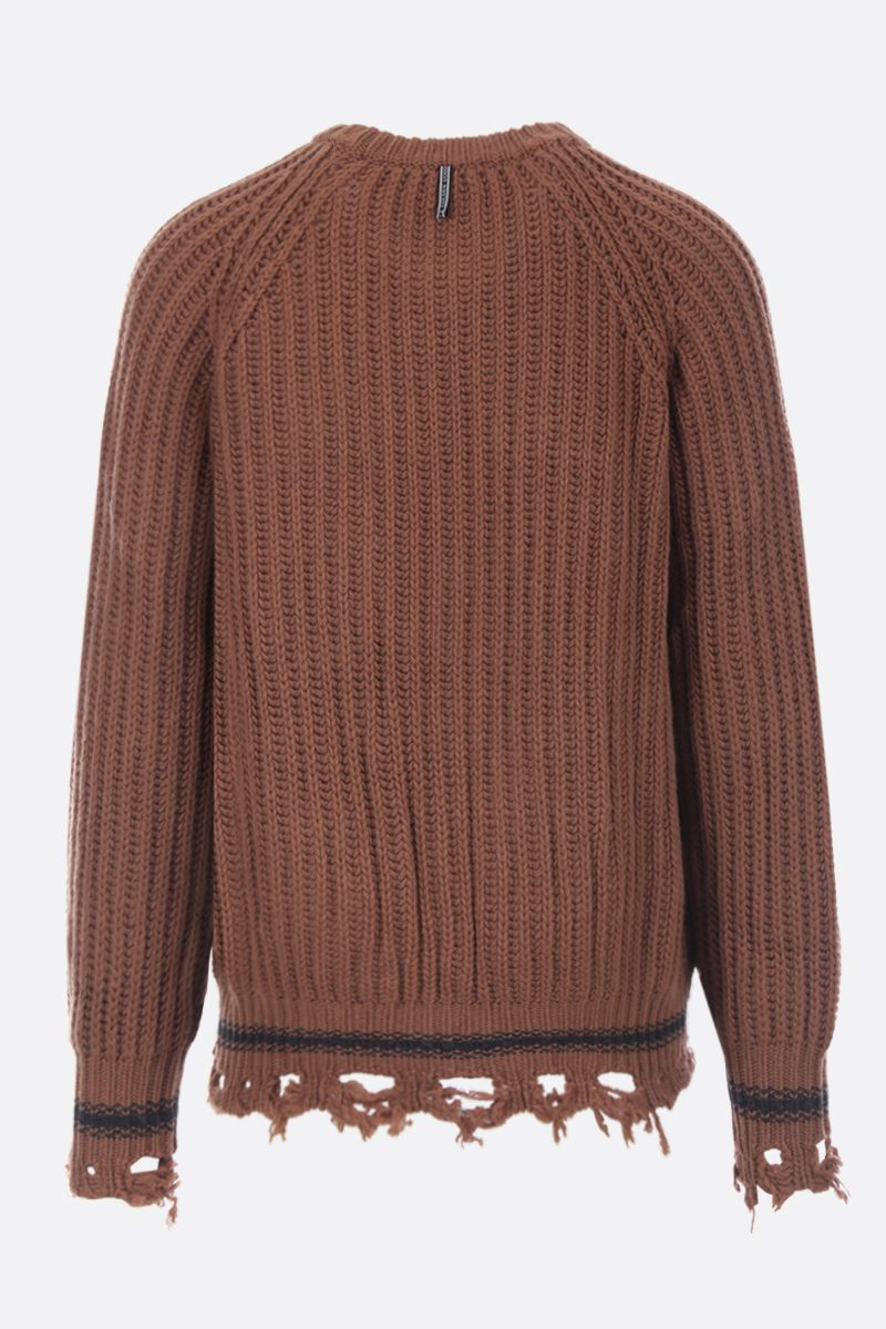 GOLDEN GOOSE DELUXE BRAND: Kunio distressed-effect wool pullover Color Brown_3