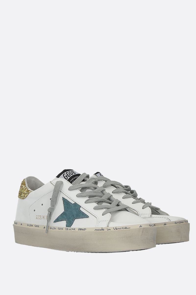 GOLDEN GOOSE DELUXE BRAND: Hi Star sneakers in smooth leather and glitter Color White_2