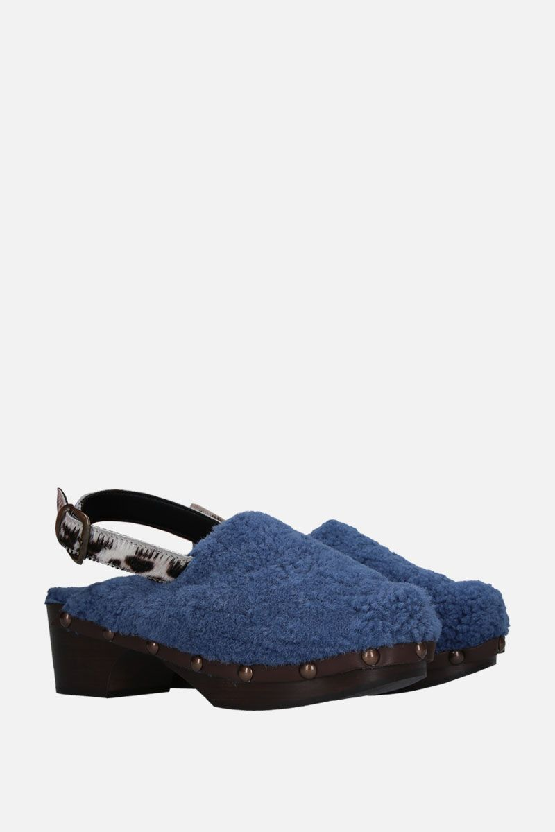 AVEC MODERATION: Ruka clogs in shearling Color Blue_2