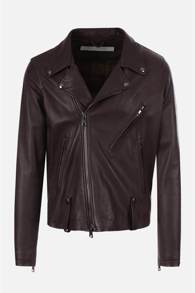 GIORGIO BRATO: deer embossed leather biker jacket_1