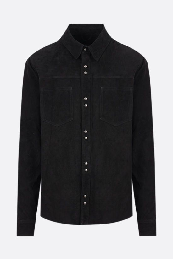 GIORGIO BRATO: suede leather overshirt Color Black_1