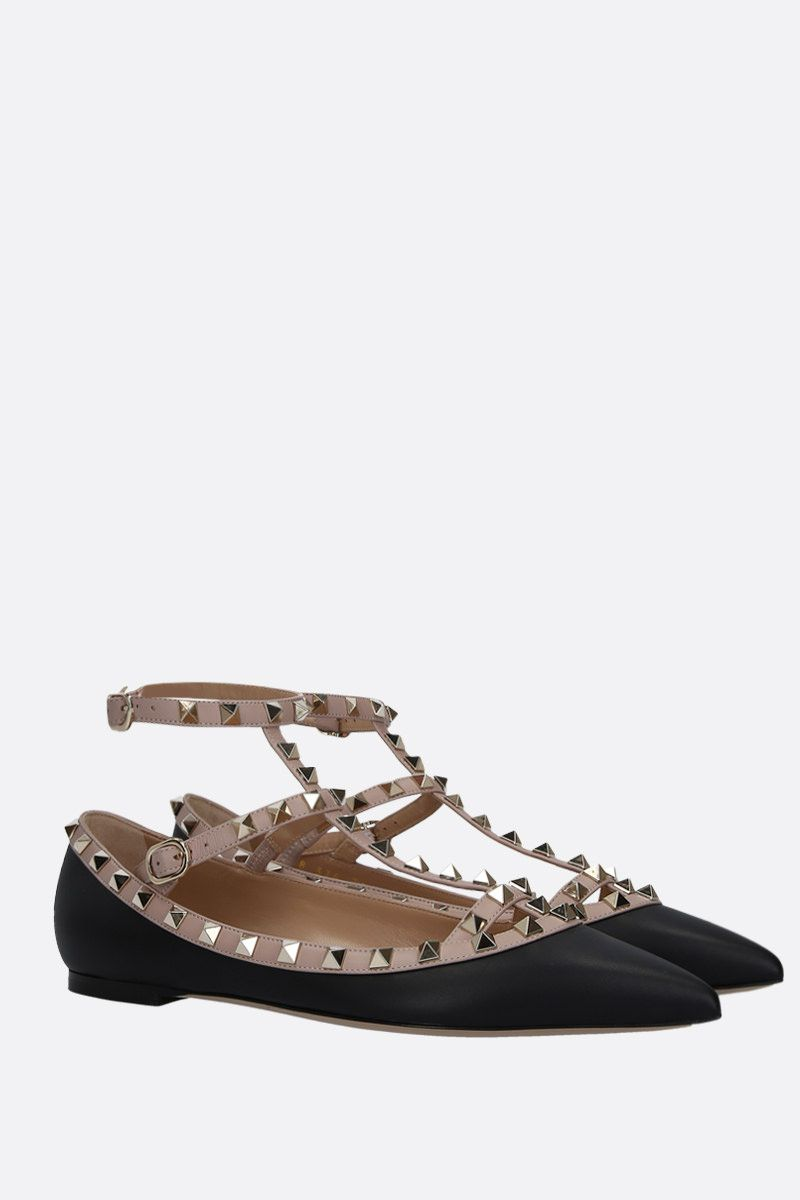 VALENTINO GARAVANI: Rockstud smooth leather ballerinas Color Black_2