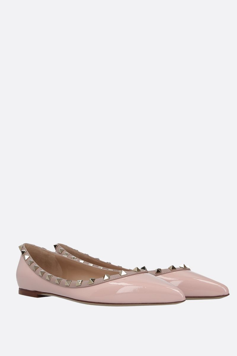 VALENTINO GARAVANI: Rockstud patent and smooth leather ballerinas Color Pink_2
