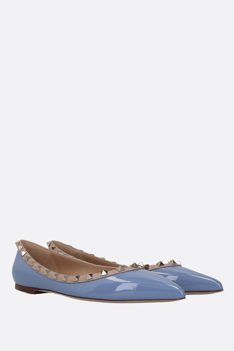 VALENTINO GARAVANI: Rockstud patent and smooth leather ballerinas Color Blue_2