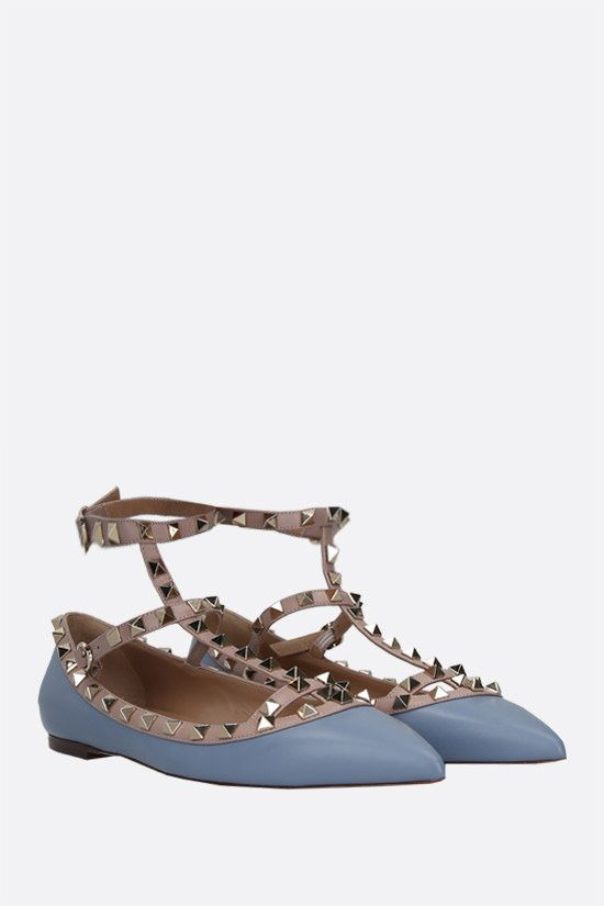 VALENTINO GARAVANI: Rockstud smooth leather ballerinas Color Blue_2