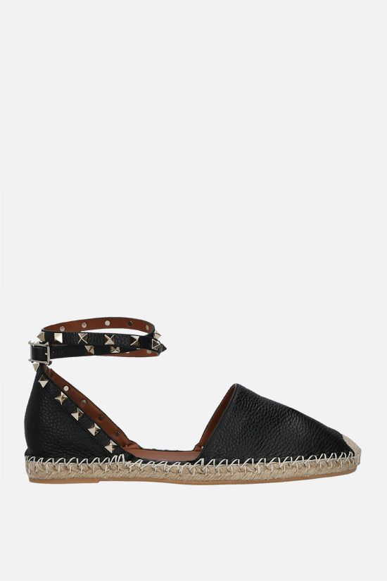 VALENTINO GARAVANI: Rockstud Double grainy leather espadrilles Color Black_1