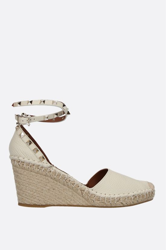 VALENTINO GARAVANI: Rokstud Double grainy leather wedge espadrilles Color Neutral_1