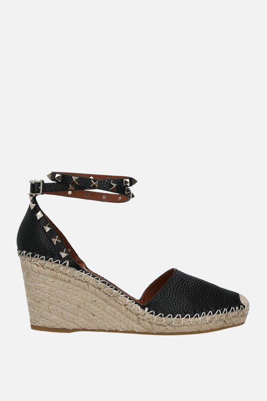 VALENTINO GARAVANI: Rokstud Double grainy leather wedge espadrilles Color Black_1