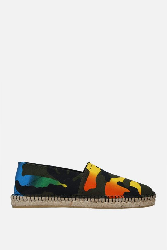 VALENTINO GARAVANI: Multicolour Camouflage print canvas espadrilles Color Black_1