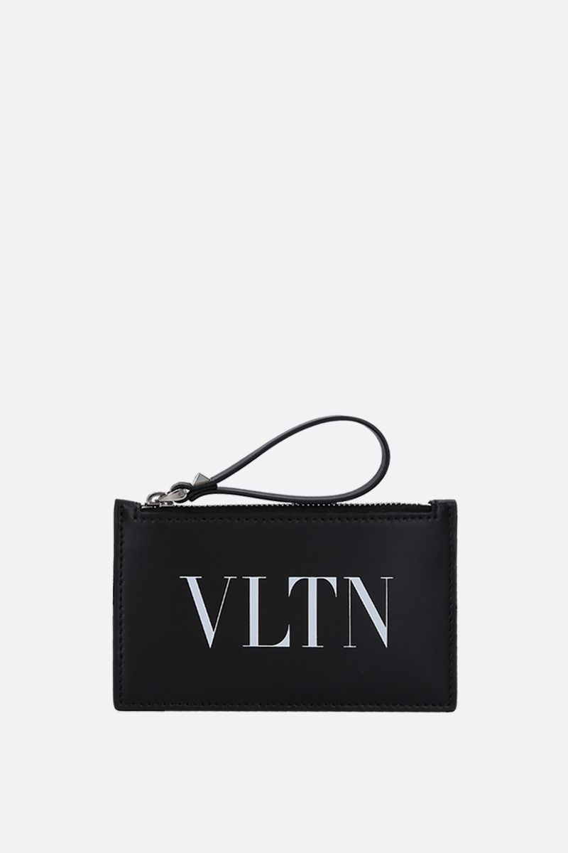 VALENTINO GARAVANI: VLTN smooth leather zipped card case Color Black_1