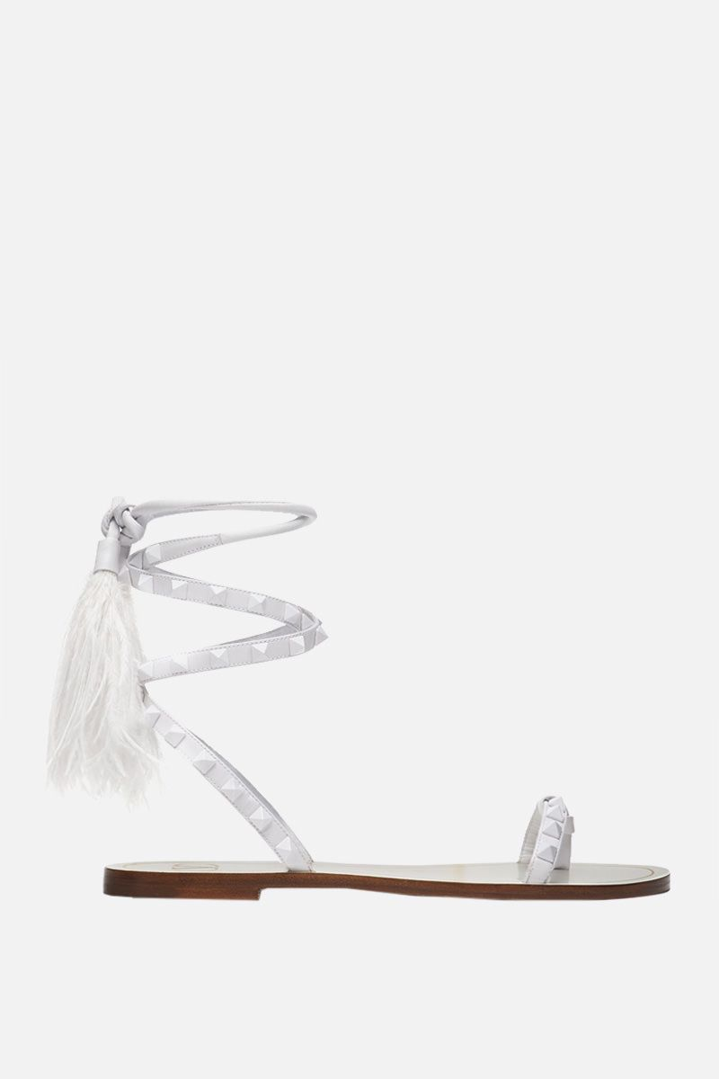 VALENTINO GARAVANI: Rockstud Flair smooth leather thong sandals Color White_1