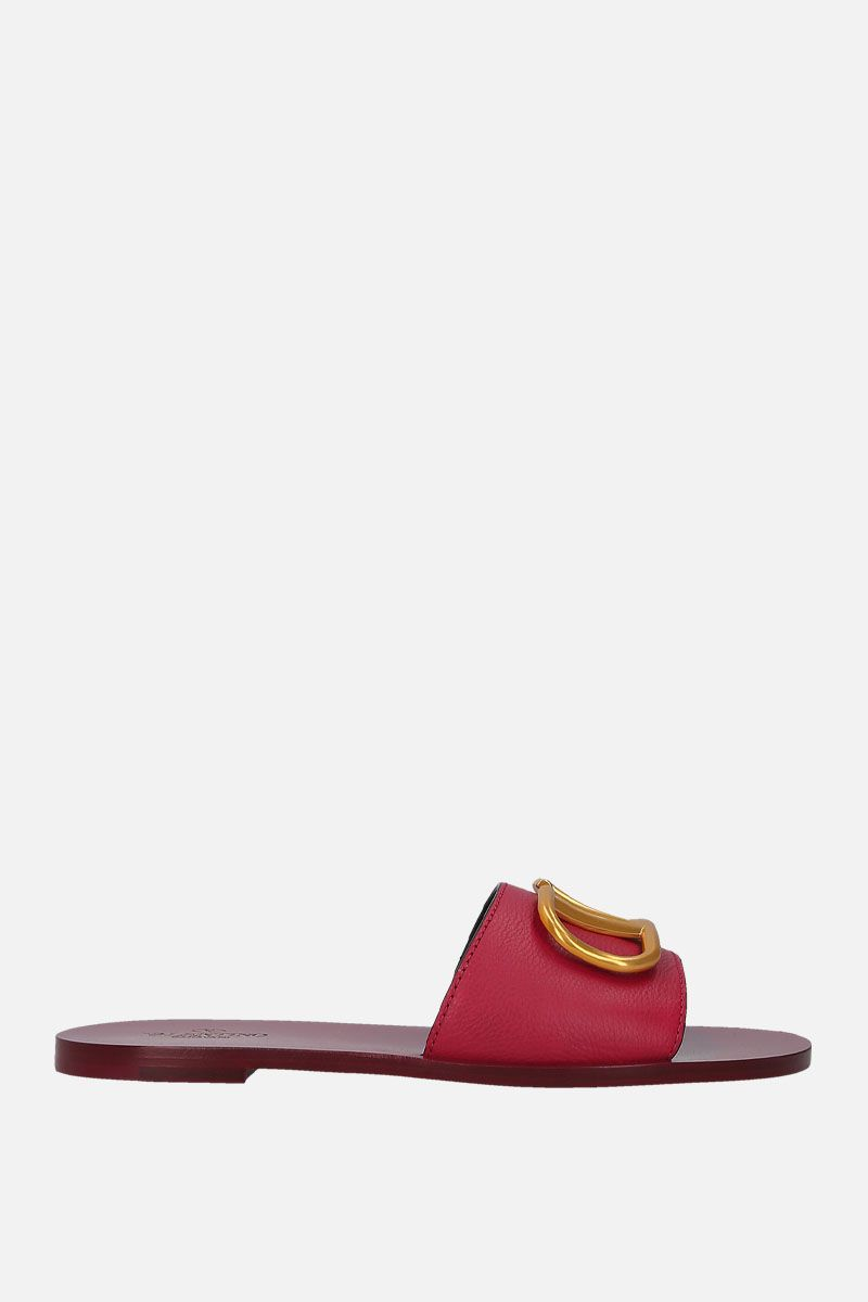 VALENTINO GARAVANI: VLOGO grainy leather flat sandals Color Red_1