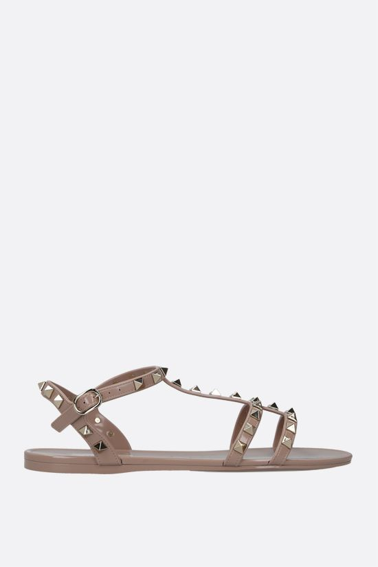 VALENTINO GARAVANI: Rockstud PVC flat sandals Color Neutral_1