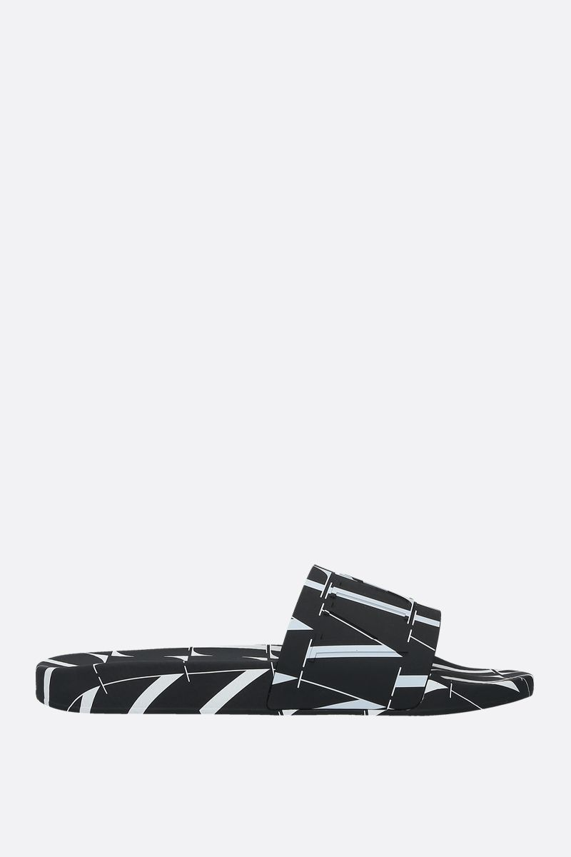 VALENTINO GARAVANI: VLTN rubber slide sandals Color Black_1