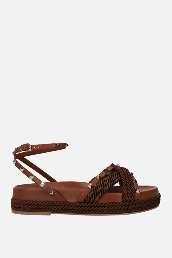 VALENTINO GARAVANI: Rockstud smooth leather and rope flatform sandals Color Brown_1