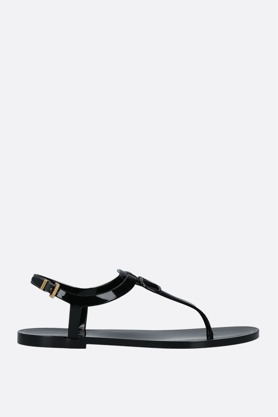 VALENTINO GARAVANI: VLOGO Signature PVC thong sandals Color Black_1